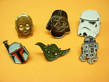 Star Wars 7 assorted badges Yoda R2D2 Boba Fett Storm trooper C-3PO Darth Vader