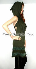 Green HOODED Lace BACKLESS Midi DRESS Hippy PIXIE Steampunk LADIES UK 8 -16