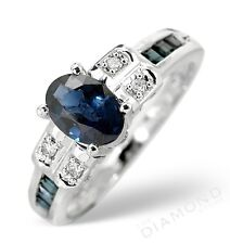 9k W Gold Sapphire Solitaire & Diamond Ring Made In Jewellery Quarter London