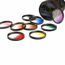 9pcs 37mm to 77mm Graduated Color Camera Lens Filter Kit For Nikon Canon + Cloth