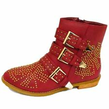 WOMENS DOLCIS RED GOLD STUD BUCKLE ANKLE ZIP BIKER FASHION BOOTS SHOES SIZE 3-8