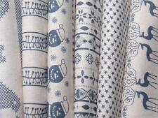 GREY natural ivory beige NORDIC CHRISTMAS 100% COTTON fabric craft - make gifts?