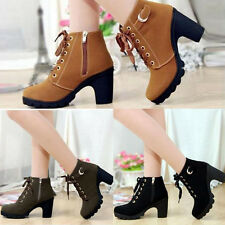 Womens High Chunky Heels Platform Winter Warm Lace Up Martin Zipper Ankle Boots