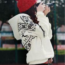 White  Women's Long Sleeve Hoodie Sweatshirt Jacket Outwear Coat