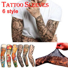 Hot Sale 6 Designs Fancy Dress Stretch Nylon Fake Tattoo Sleeves Arms UK