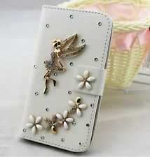 Bling angel Wallet Card Holder PU Leather Flip Pouch Case Cover for LG Phones