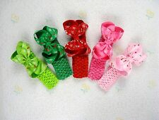 5 baby girl boutique christmas cherry hair bows with crochet headband no clip