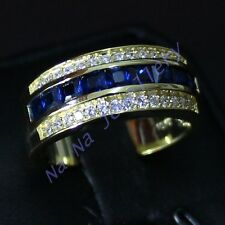 Handmade Jewelry Men's  Sapphire 10KT Yellow Gold Filled Band Ring Size 8-13