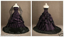 2014 New Purple and Black Embroidery Wedding Dress Bridal Gown Custom All Size