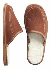 New Brown Mens Leather Slippers Shoes Sheep's Wool Sheepskin UK size 6 - 11 SALE
