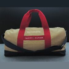 TOMMY HILFIGER NEW MEDIUM DUFFLE BAG/GYM BAG, NWT,VERY NICE,BEIGE,RED AND BLUE