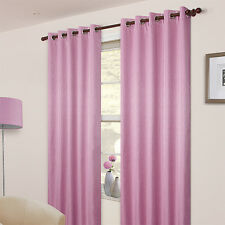 "Pair Of Plain Light Pink  Eyelet Ring Top  BLACKOUT Curtains 53"", 72""  Drop"