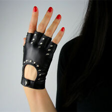 Real Leather Fingerless Short Gloves Black Rock Rivets Stud Lambskin Bicycle
