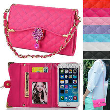 Bling Rhinestone Quilted PU Leather Handbag Wallet Case + Hand Chain For iPhone