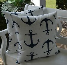2 Pack ~ Blue Nautical Decorative Indoor Outdoor Throw Toss Pillow Made In USA