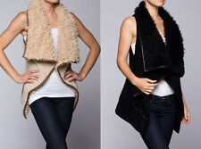 Beige Black Fur Vest Boho Plush Style Hippie Winter Warm Small Medium Large