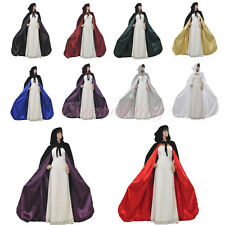 Gothic Hooded Velvet Wedding Cloaks Wicca Robe Halloween Medieval Larp Cape Xmas