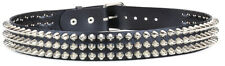 "Cone Studded UK77 1/2"" Leather Punk Goth 70's Retro Belt 3 Row Thrash Metal"