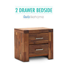 Phillipe Solid Acacia Oak Timber 2 Drawer Bedside Table - With Options
