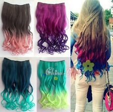 One Piece Women's Gradient Colorful Wavy Curly 5 Clips Clip-in Hair Extensions