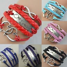 1Pc One Direction Love Heart Hand-knitted Leather Silver Infinity Bracelet