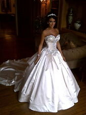 White Backless Sweetheart Wedding Dresses Bridal Gowns Custom Size 2.4.6.8.10.12