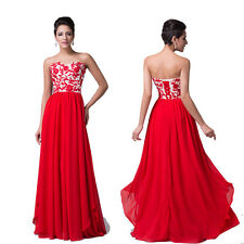 HOT DEAL Long Masquerade Luxury RED Cocktail Festival Evening Prom Wedding Dress