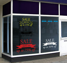 Window Banner Sale Vinyl Sticker Graphics 'Up to % off' for retail and shop