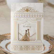White-Golden Shiny Lovers in Palace Wedding Invitations Cards with Envelopes