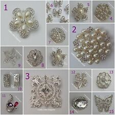 Rhinestone Diamante GEMS & Pearl Pin Broach Brooch Wedding Chair Sash Costume