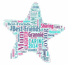 Personalised Word Art Star Canvas Word Typography