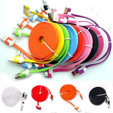 Flat Noodle USB Data Sync Charger Cable For iPhone 4G 4S iPod 3Ft/6ft/10Ft