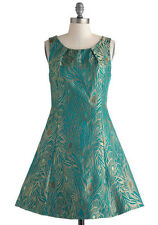 NWT Sunny Girl Modcloth S Metallic Peacock Teal Cocktail Party Dress