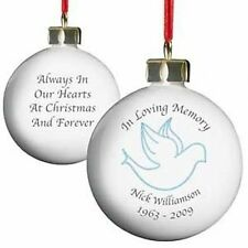 IN LOVING MEMORY PERSONALISED DOVE CHRISTMAS BAUBLE ORNAMENT DECORATION