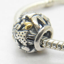 New 925 Sterling Silver 14kt Gold Family Forever Charm  Bead