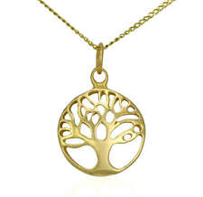 Solid 9ct Gold Tree of Life Pendant Charm & Necklace Chain Jewellery Gift Set 9k