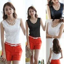 Women OL Formal Lace Crochet Floral Tops Sleeveless Vest Tank Shirt Tee Blouse