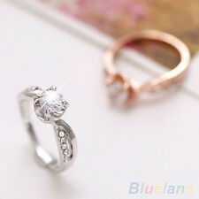 Girls Gorgeous Sweet 9K Silver Plated Zircon Rhinestone Wedding Party Band Ring