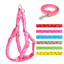 New Adjustable Star Print Nylon Dog Puppy Strap Harness & Leash for Small Breeds