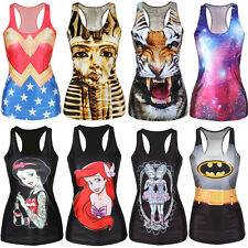 MAY Women Tank Top Print Gothic Punk Rebel Ariel Mermaid Vest Sleeveless T Shirt