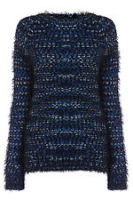LADIES FLUFFY KNITTED JUMPER WOMENS BLUE MIX EYELASH KNIT JUMPER Size: 6 - 18