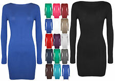 WOMENS LONG SLEEVE BODYCON SHORT MINI DRESS LADIES LONG TOP TUNIC PARTY *Lng Rn