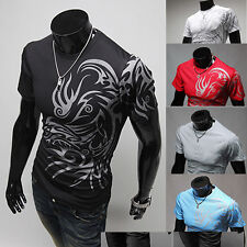 AWESOME MEN COOL TATTOO PRINTED SHORT SLEEVE CREW NECK TEE T-SHIRT SLIM FIT TOPS
