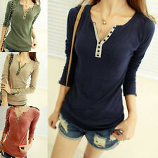 Hot Womens Ladies Long Sleeve V-Neck Button Slim Casual T-shirt Tee Tops Blouse