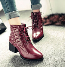 Womens Fashon Shoes Pointy Toe High Heels Punk Ladies Ankle Boots Shoes US 4-8