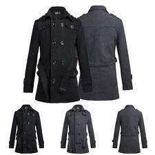 Men's Slim Trench Coat Fashion Winter Long Jacket Double Breasted Overcoat