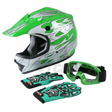 Youth Green Flame Dirt Bike ATV Motocross Helmet MX W/ Goggles S/M/L USA Ship