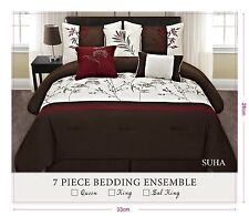 Brown Ivory Burgundy Floral Embroidery Western Style 7 Pcs Comforter Set suha