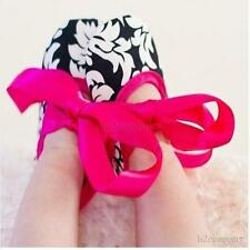 Sweet Baby Girl Infant Silk Leopard Dot Damask Bow Ribbon Soft Sole Shoes 0-18M