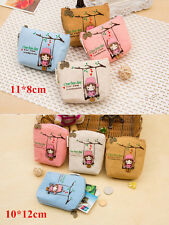Cute Cartoon Girl Square Coin Bag Purse Wallet Card Case Handbag Canvas New